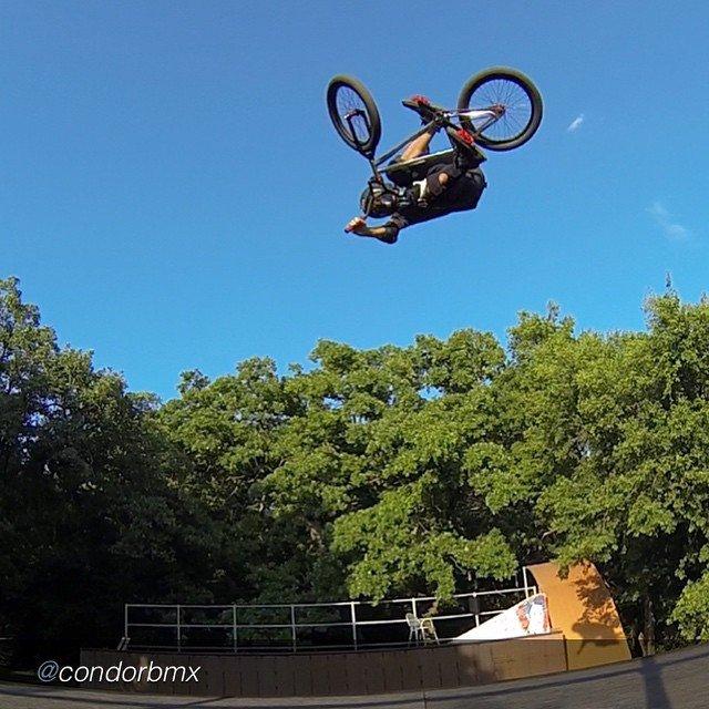 "by @condorbmx ""1st ride on my new bike today #backyardsess43 @hoffmanbikes"" #hoffmanteam #hoffmanbikes"