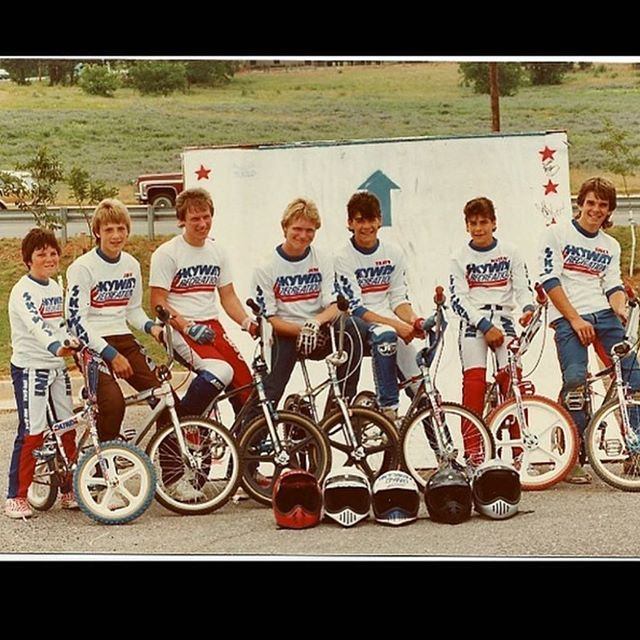 Headed to the @EdmondBikeShopReunion !  This was my first bmx/skateboard family!  That's me second to the right.  My brother @travismhoffman to the left and the legendary Ron Dutton's son Chad on the far left. See you soon. #bmxmemorylane #bmxbeginning