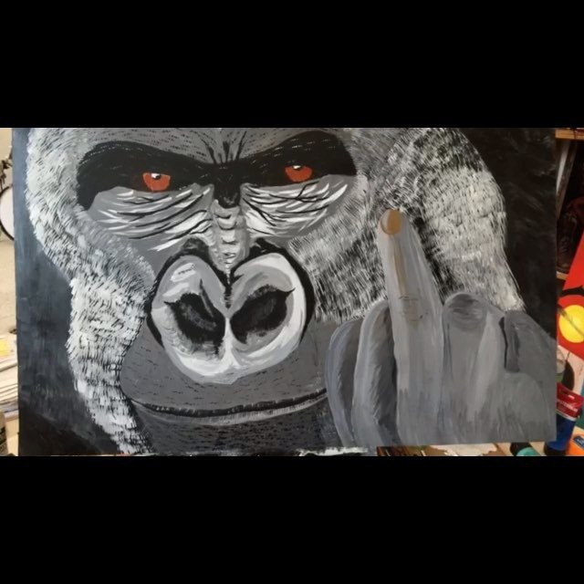 Did an art swap with #jefftremaine. I painted a portrait of him... @gorillaflicks