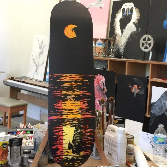 I painted a board today for @project_loop to auction off to raise money for a skatepark in Taylor Tx. There will be many greater panted boards to bid on too, so check it out. - music