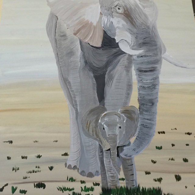I thought about painting something to give justice to all injustice, but it stressed me out so I painted an elephant today. Now there's an elephant in the room. Heh heh. Music by @mikedillonband