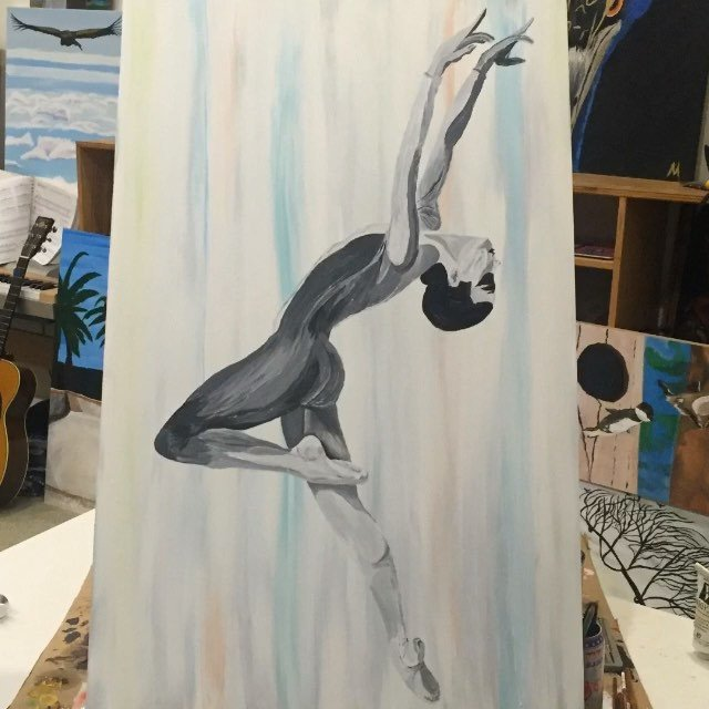 "I'm on the ground til the weather gets better, so I went for a portrait of My wife. She danced ballet professionally for 15 yrs. This is her dancing in a ballet called ""Prey"" where wrote the music and played it live while she danced."