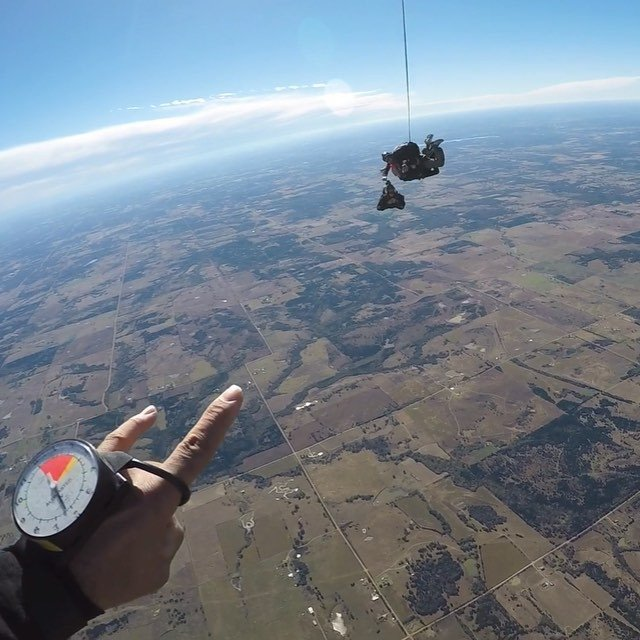 Watched my friend Renee jump out of a plane today before she sings the national anthem at the thunder game tonight. Happy Birthday @okskydiving_center
