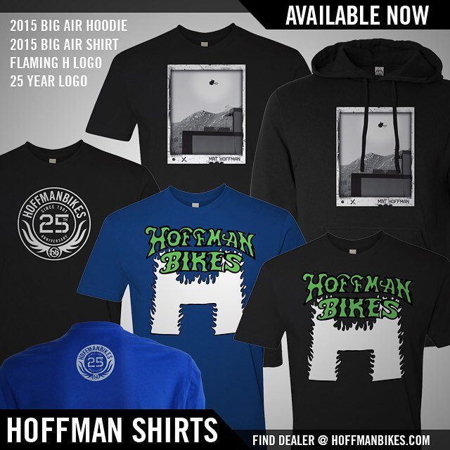 Shirts in stock! Get yours!! Original flaming H, New Big Air T and the new 25 years strong T.