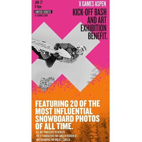 If you're in Aspen don't miss the X Games Kick-off Bash and Art Exhibition Benefit for The V Foundation's Cancer Research @thevfoundation and Boarding for Breast Cancer @b4bc on Wednesday, January 27 at Buttermilk Mountain. Tickets are available here: http://bit.ly/1QpvMm5 link also in my insta profile