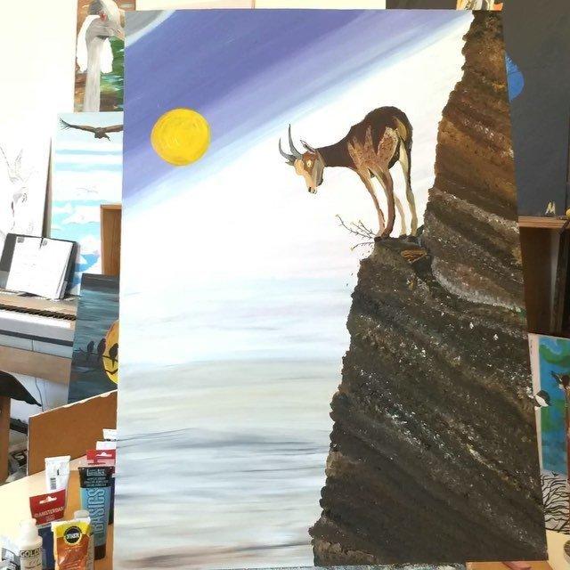 """Painted this today. """"Capricorn Vertigo"""". Music """"live as you please"""""""
