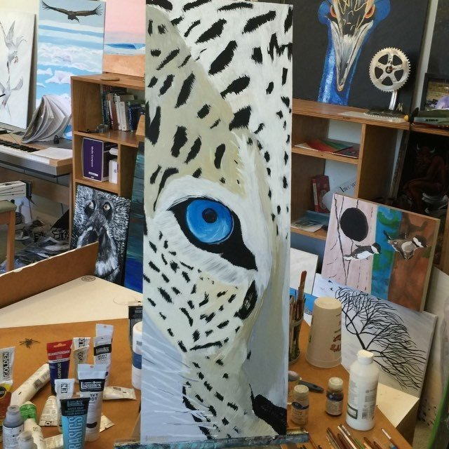 I painted a snow leopard this morning. I hope the weather is good to ride tomorrow... Music by available here: http://mathoffman.com/product/snow-leopard/