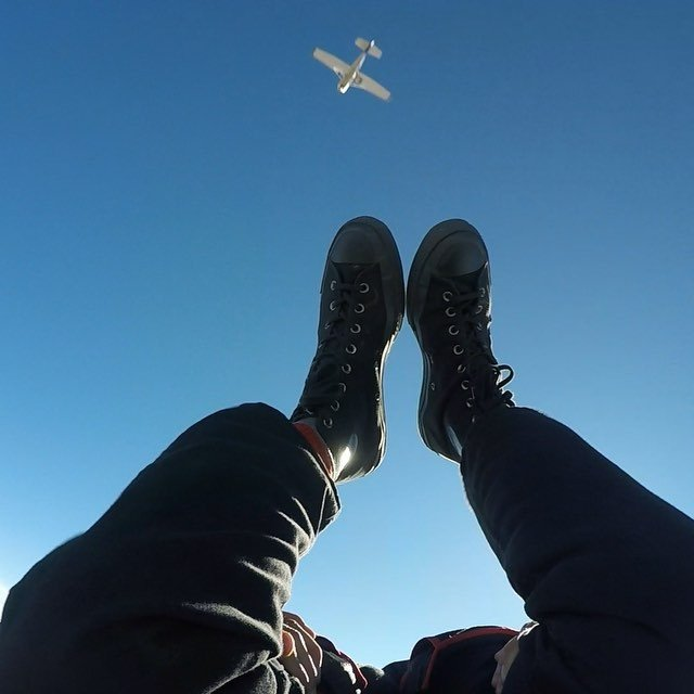 Solo fun jump today. flopping around the sky watching the plane fly away @okskydiving_center