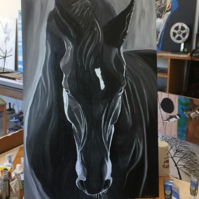 The wind is keeping me on the ground today so I painted... Oil on #Skatelite. It's available here *give a couple weeks to dry https://mathoffman.com/product/black-horse/ music: