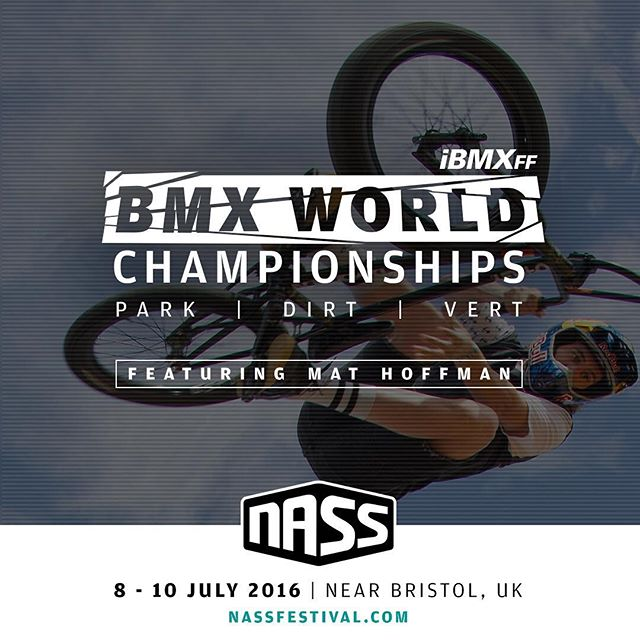 "It's been almost 28 years but our ""Worlds"" are returning to English soil. I was there in 1988 and I'll be there again, high-fiving the progression and rocking the love! We are going to see the best riding, inspired by the best music.This is THE Event to plan your year around. See you there! Register here. first serve basis: http://www.nassfestival.com/event-info/athletes"