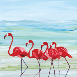 the 4 Flamingo's