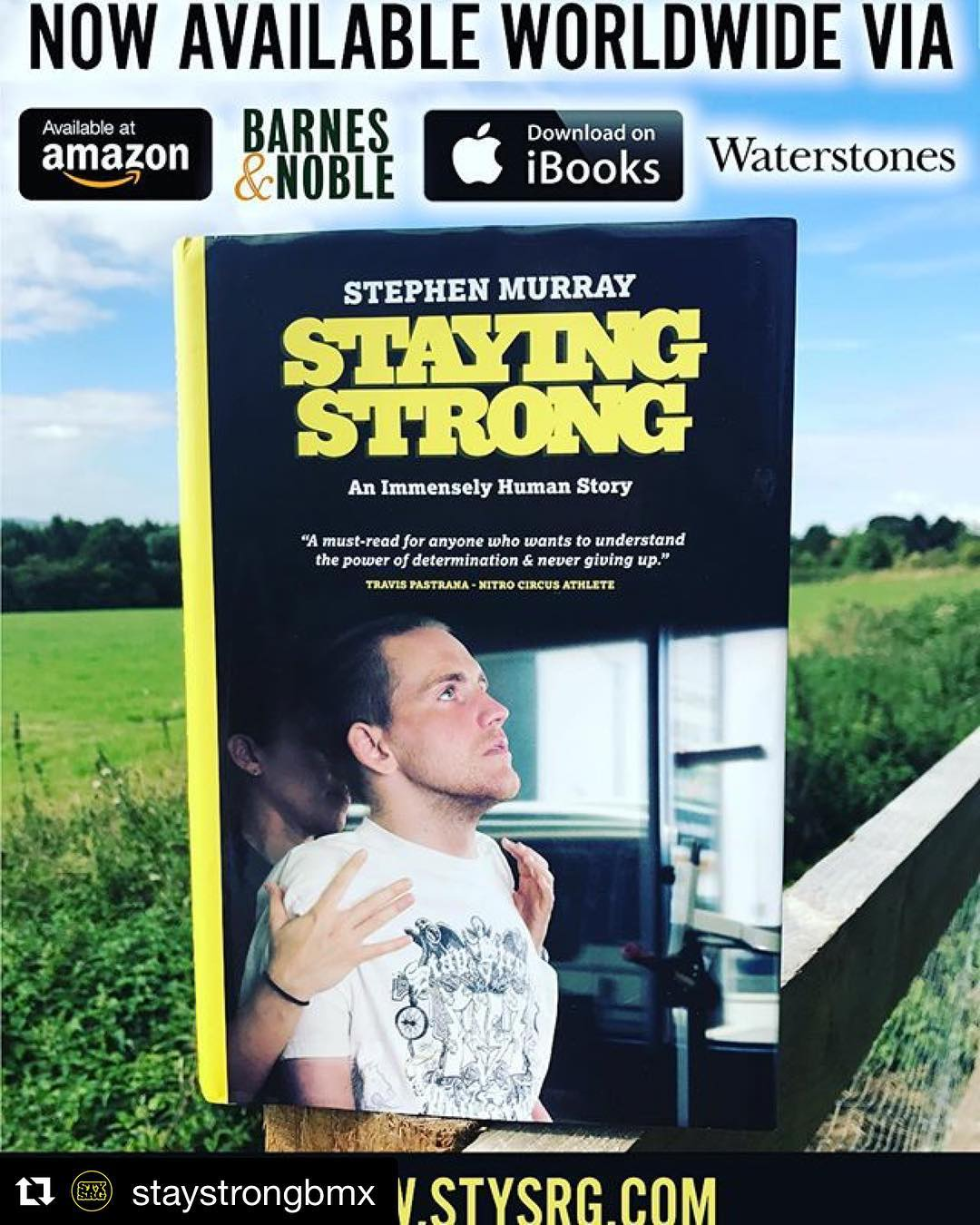 This is so inspiring!Stephen is a true warrior!  I could not put it down.  A must read.  #Repost @staystrongbmx ・・・ Stoked to announce that my book Staying Strong is now available worldwide in print and digital via Amazon, iBooks, Barnes&Noble, Waterstones and the Stay Strong website. Thanks to everyone who's bought one so far, I've been stoked on the feedback! For those yet to buy one, hopefully it should be easier to do so now from any of these outlets. Thanks. Stephen.