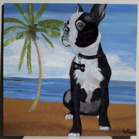 "@dus1049 dog ""Olley"", on a beach, by request. DM for commissions. Thanks! #mh_paints"