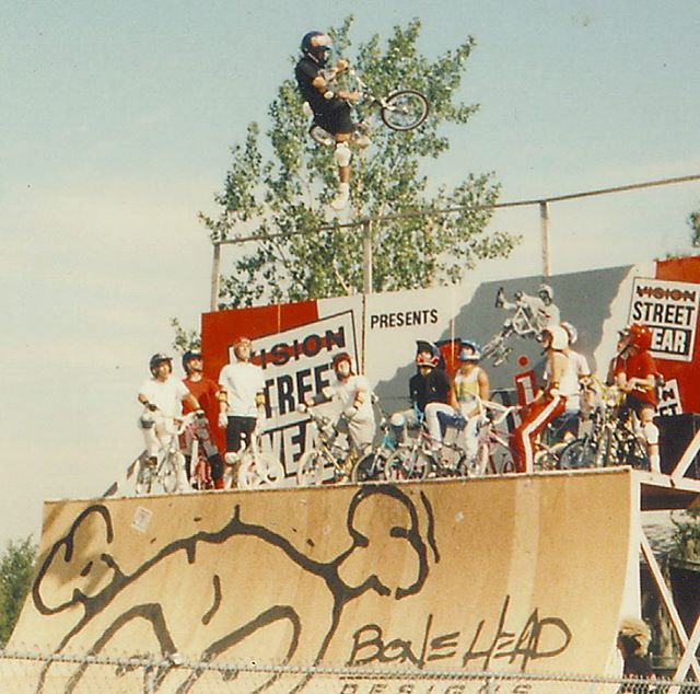 Another 30+ year throwback. #tbtbmx I could get the best pump on this ramp.  This was one of my favorite contest/jams.  I think @lee_reynolds tried a 900 and came close.  He was blasting too.  I was 16 and just got my license suspended for reckless driving.  Then I experienced RonW, Blyther and Spike completely destroy their rental car.  I think they even tried to do a wall ride with it. I thought I had nothing on them.  1988 2HIP KOV ROUND 2 May 28, 1988. Flint, Michigan