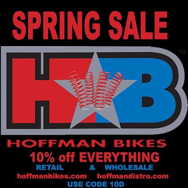 @hoffmanbikes ・・・ SPRING TIME IS TIME TO AIR - AND FOR 10% LESS!  Use code 10D.