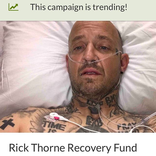 ATTENTION ATTENTION!!! RICK THORNE NEEDS OUR HELP! PLEASE GIVE IF YOU CAN!  THANK YOU!  I LOVE YOU THORNE!  GoFundMe link in @rickthorne profile —————————- I was doing a demo and slammed really hard. I broke seven ribs, ruptured a vertebrae in my lower back, I got knocked out, and had over 3 liters of blood drained from my lungs. I have a long road to recovery and I don't have health insurance. I had to stay in hospital for almost a week. All donations will help pay my hospital bills and help The Biker In Black continue to shred. I appreciate all the love, STAY RAD.