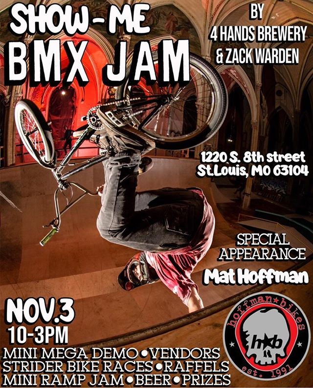 @hoffmanbikes • @bmxzack Make sure to save the date, on Nov. 3 gonna be taking over the @4handsbrewingco parking lot for a day filled of bmx fun! There will be festivities for all ages, along with @condorbmx hanging out selling @hoffmanbikes merch all day! Follow @showmebmxjam more upcoming news! #minimega #hoffmanbikes #stlouis #sk8liborius #4handsbrewing