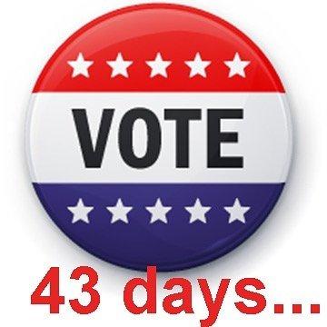 VOTE! 43 Days. VOTE https://www.vote.org/early-voting-calendar/